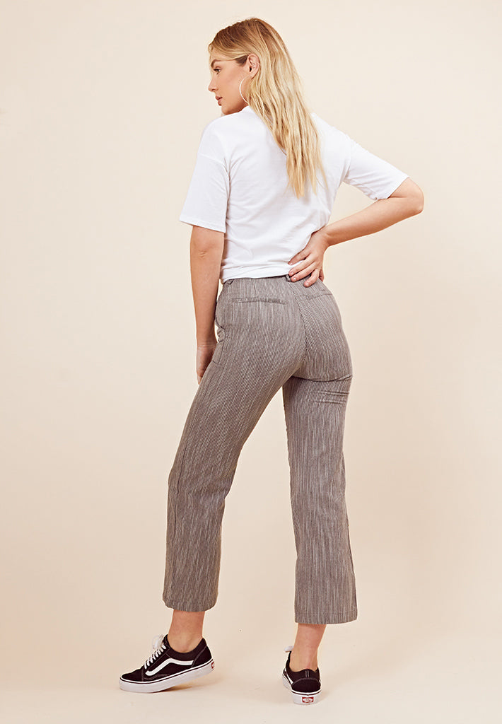 Stripe Fitted Trousers <br> Grey