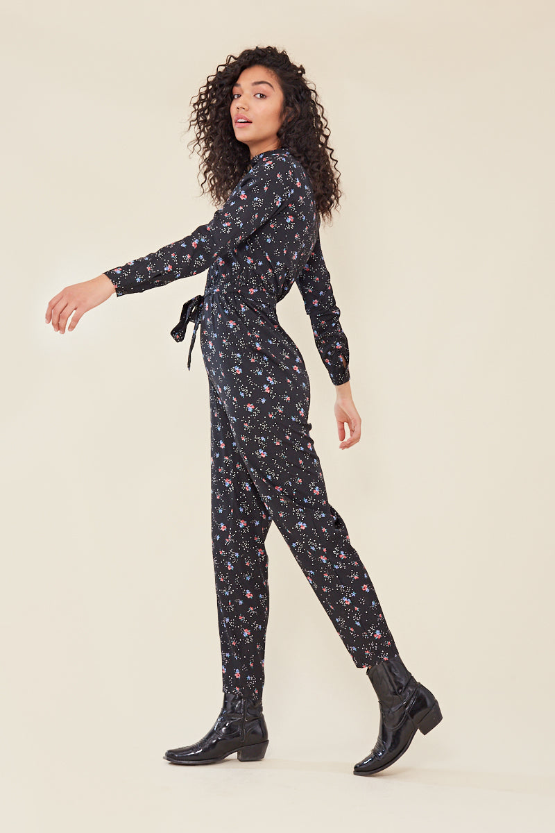 Floral Print Button Front Jumpsuit </br> Black