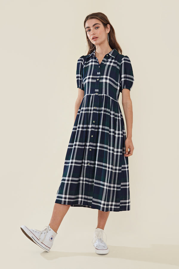 Midi Shirt Dress in Check </br> Multi