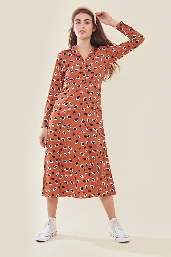 Long Sleeve Midaxi Dress In Abstract </br> Orange