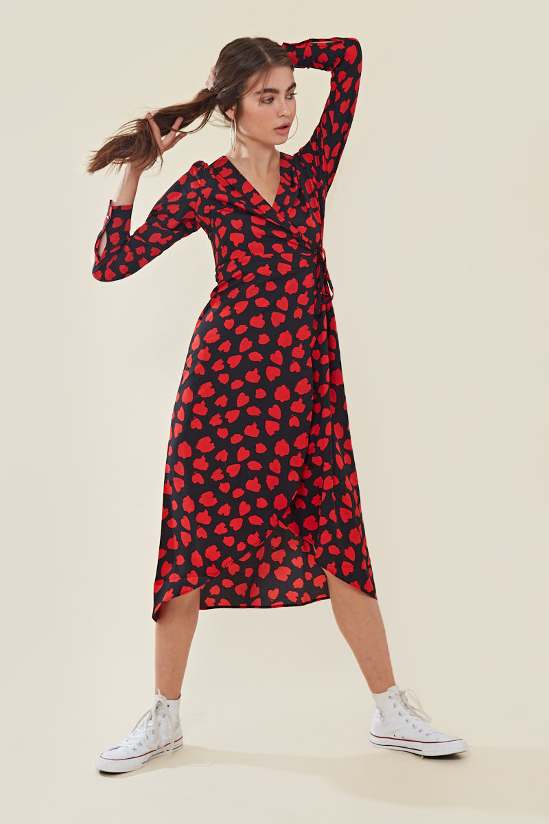 Midaxi Wrap Dress in Abstract Heart Print </br> Multi