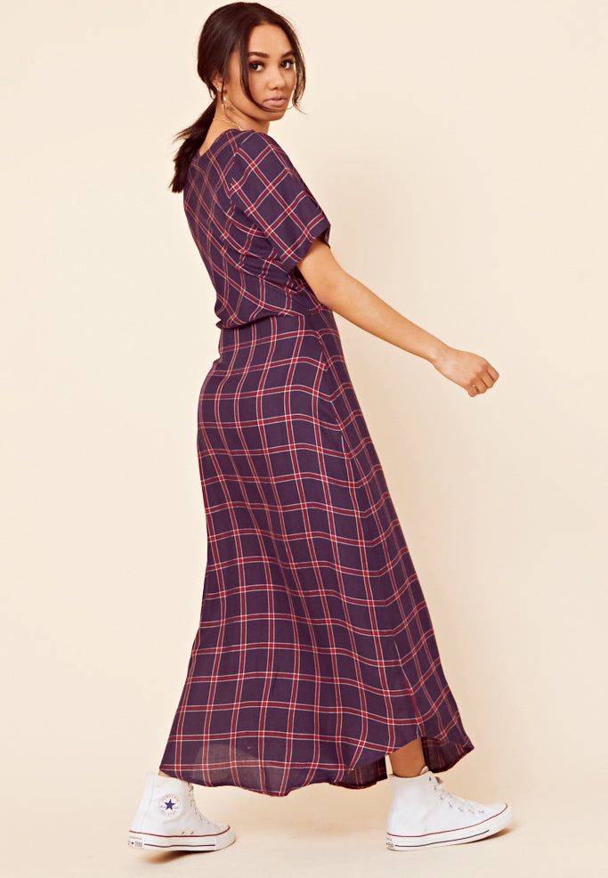 Grid Check Maxi Dress <br> Navy