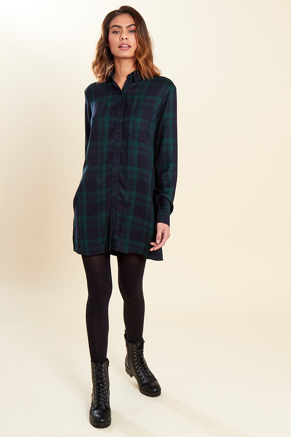 Oversized Check Shirt Dress </br> Multi