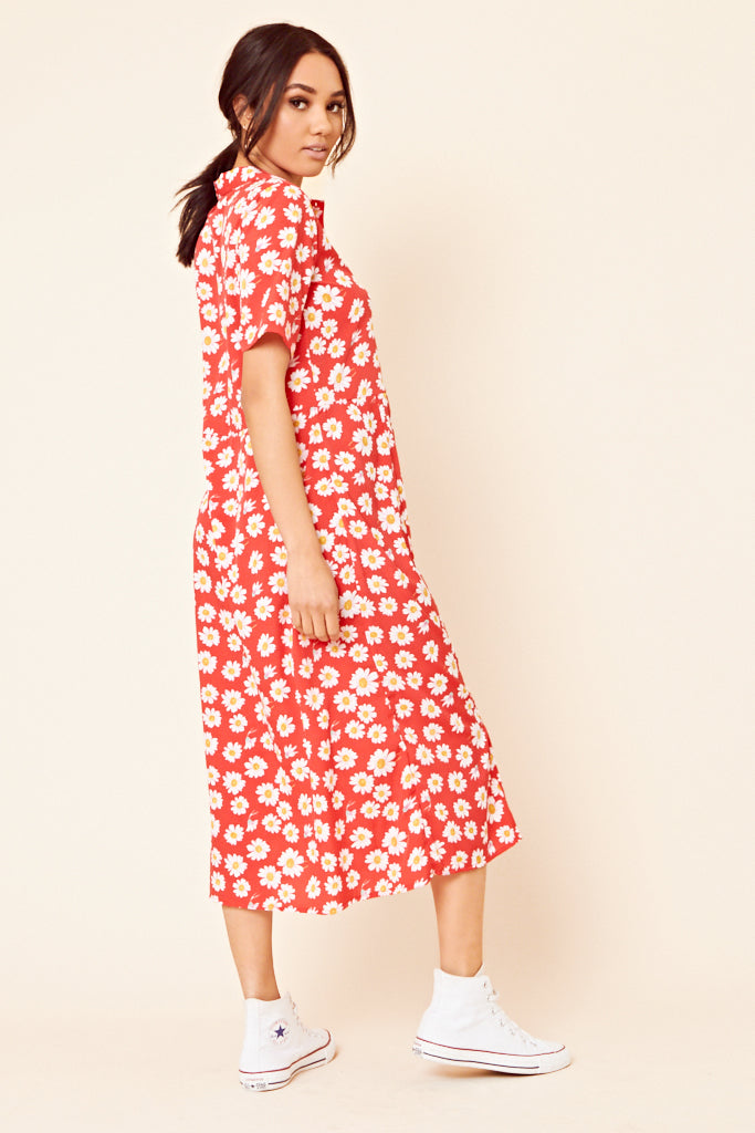 Daisy Print Shirt Dress <br> Red