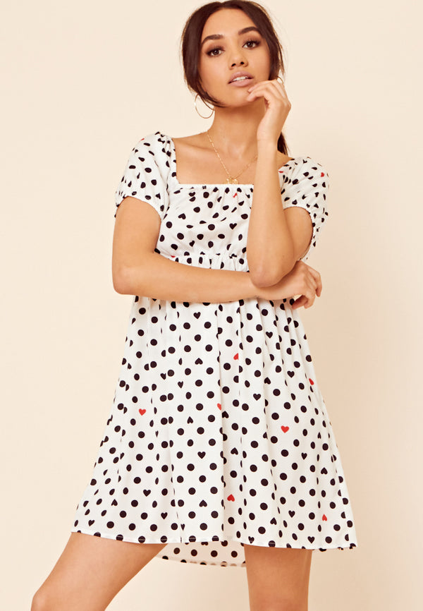 Heart Print Smock Dress <br> White