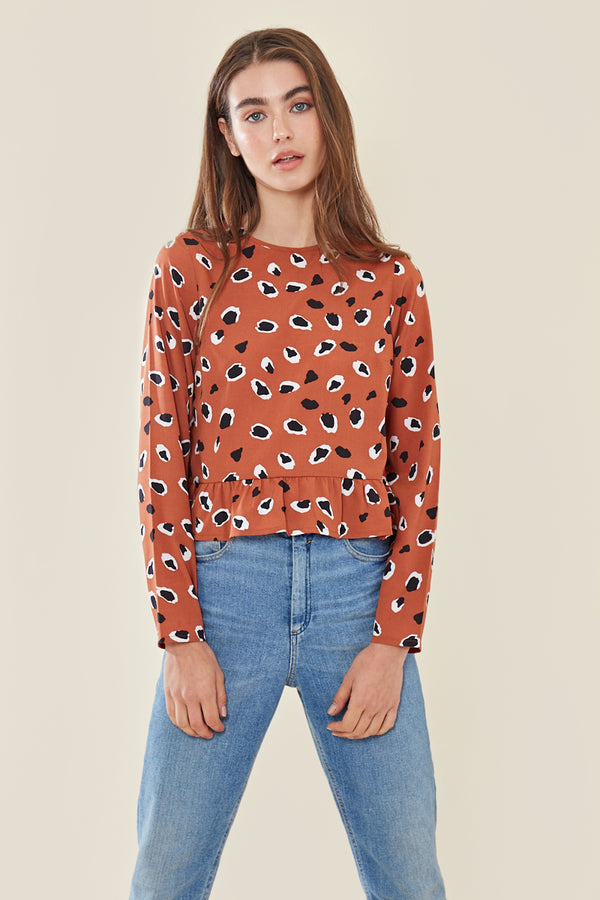 Relaxed Top In Abstract Animal Spot </br> Orange