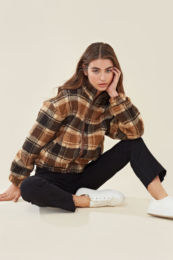Borg Trucker Jacket In Check <br> Brown