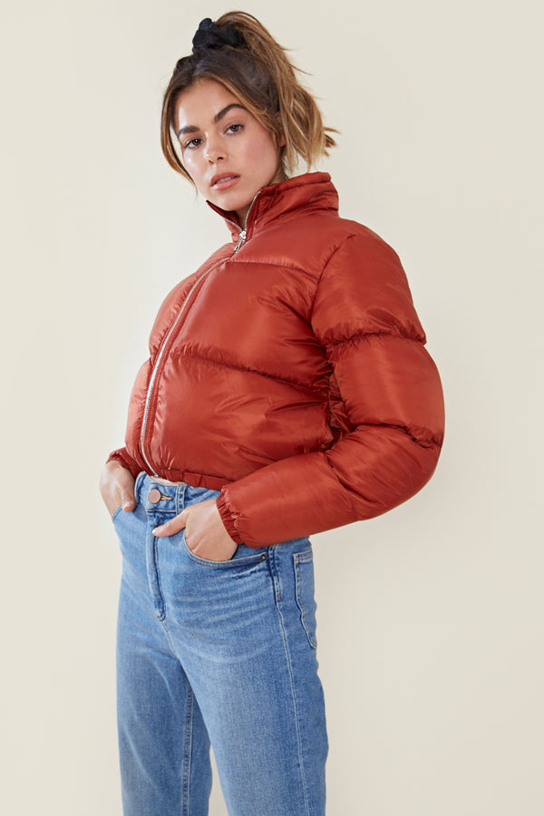 Cropped Padded Jacket <br/> Rust