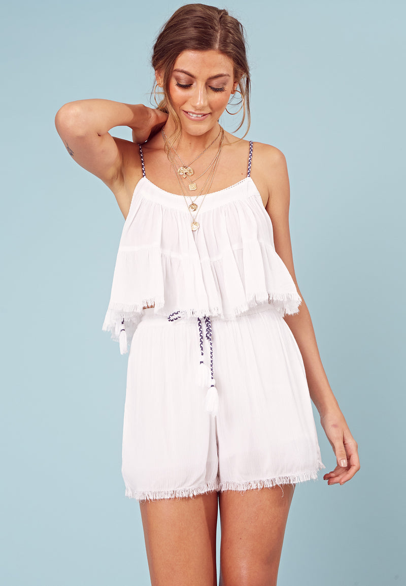 Crochet Trim Shorts <br> White