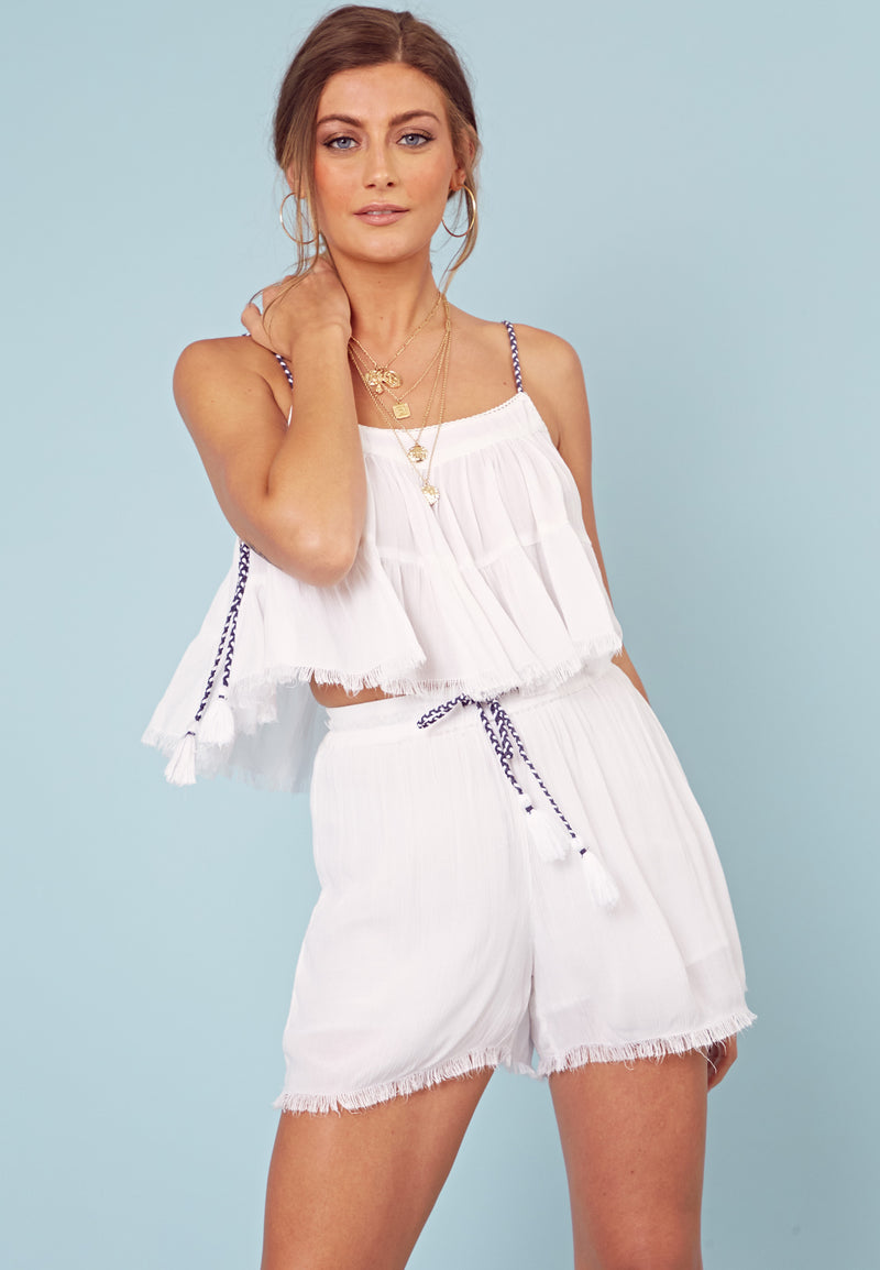 Smock Crop Top <br> White
