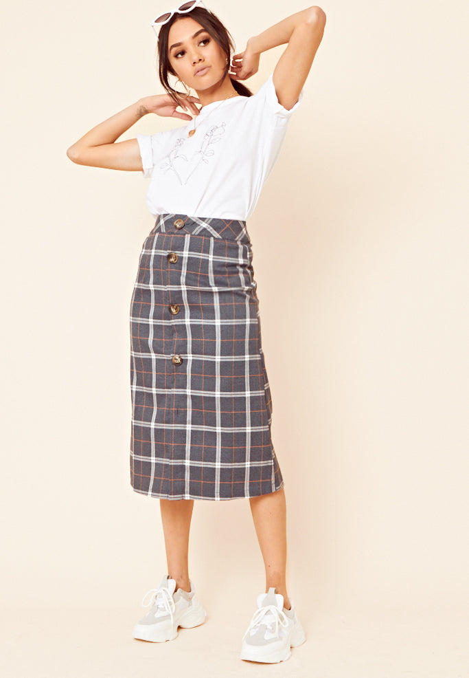 Check Midi Skirt <br> Black