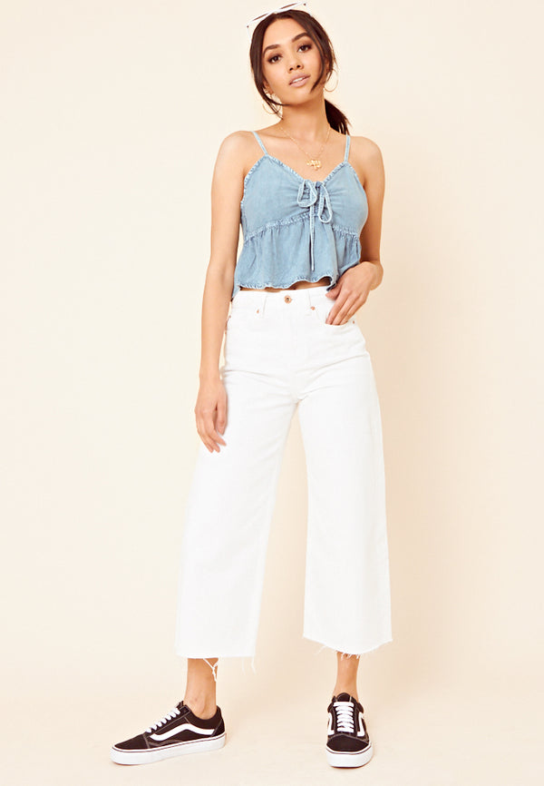 Denim Tie Front Cami Top <br> Blue