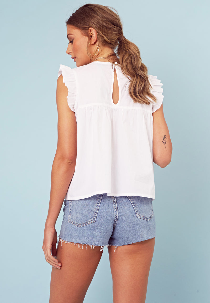 Embroidered Smock Top <br> White