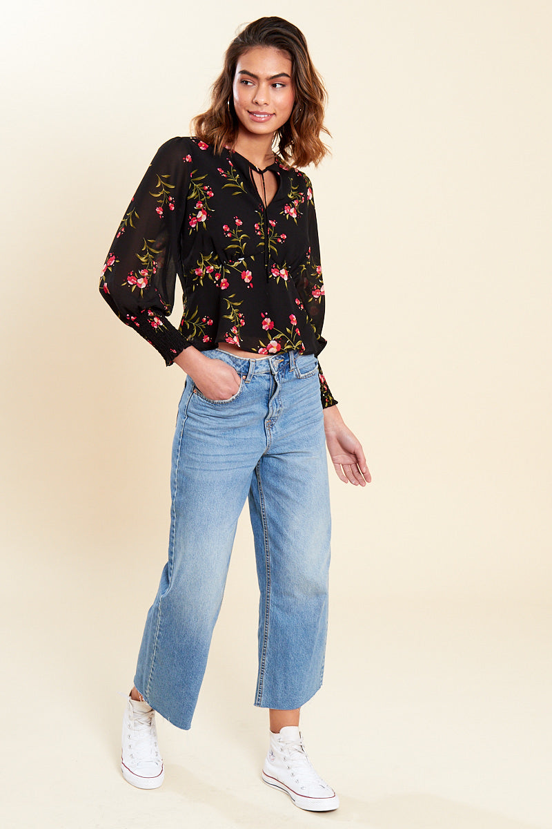 Tied Neck Floral Blouse <br> Black