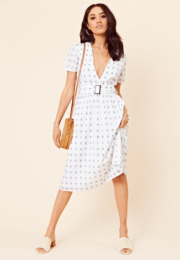 Embroidered Midi Dress <br> White