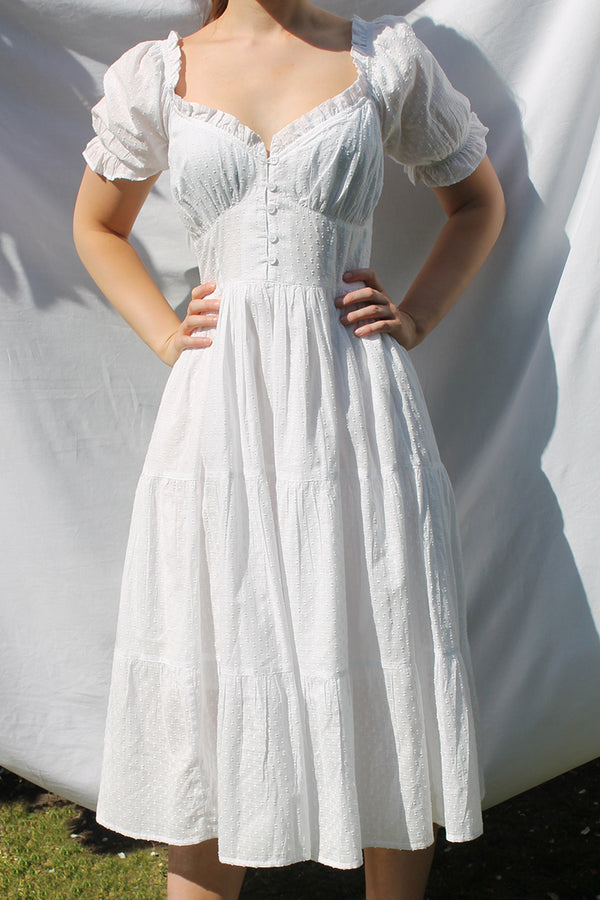 Textured Dobby Tiered Midi Dress <br/> White