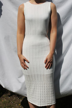 Midi Dress in Pointelle Knit <br/> White