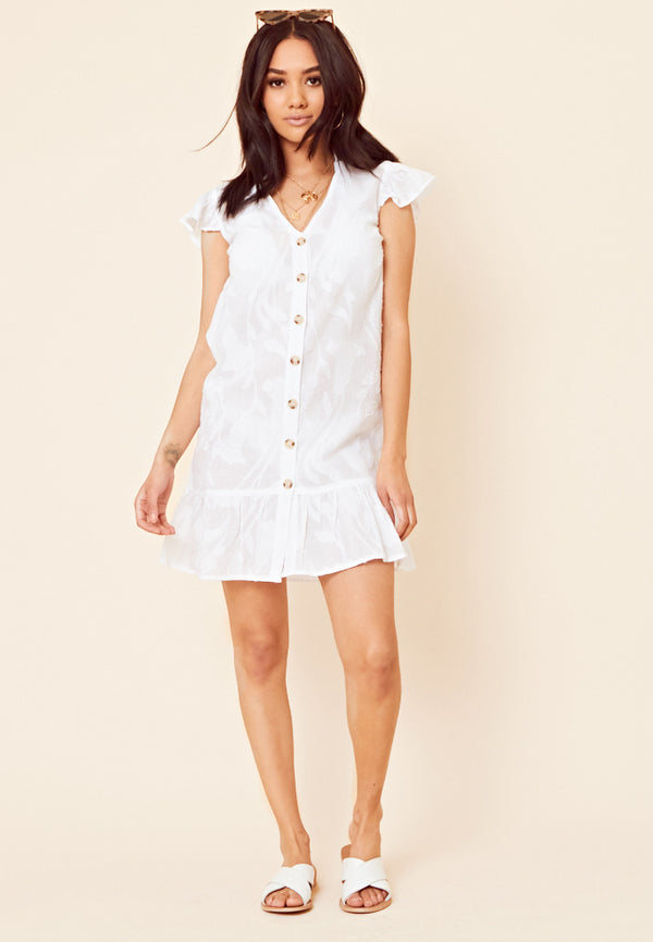Drop Hem Button Through Dress <br> White
