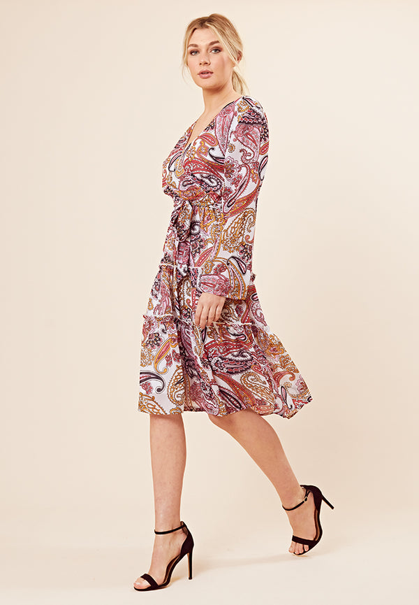 Tiered Wrap Midi Dress <br> Multi