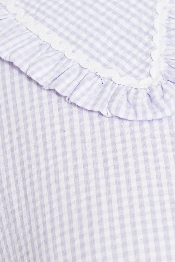 Gingham Smock Mini Dress with Frill Collar  - Curve