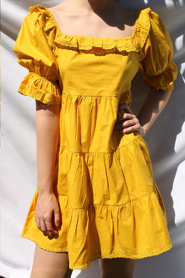 Mini Smock Tiered Dress <br/> Yellow