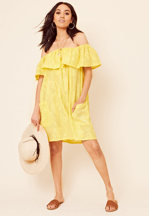 Bardot Textured Dress <br> Yellow