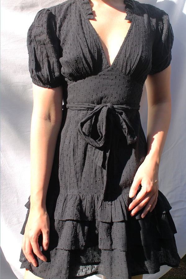 Textured Dobby Ruffled Mini Dress <br/> Black