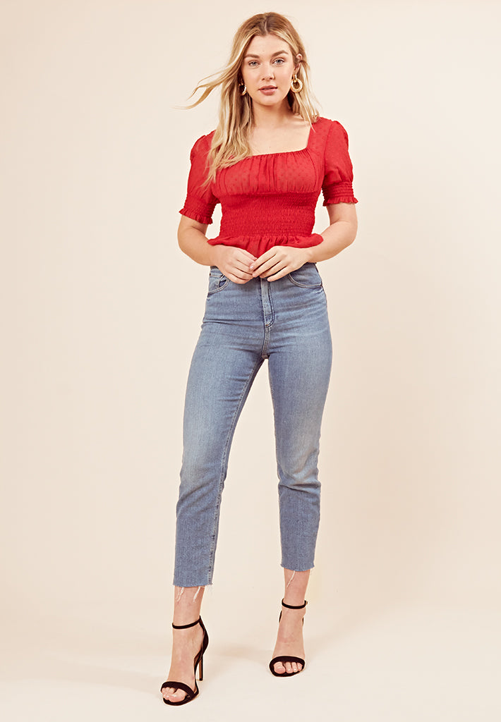 Shirred Ruffle Hem Crop Top <br> Red