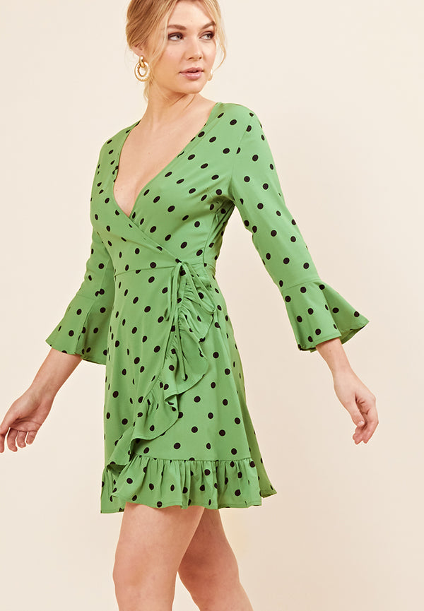 Polkadot Wrap Dress <br> Green