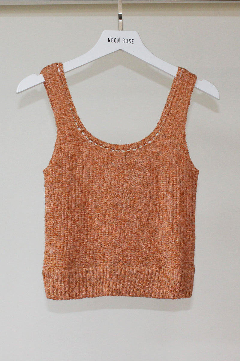 Crop Knit Top <br/> Orange