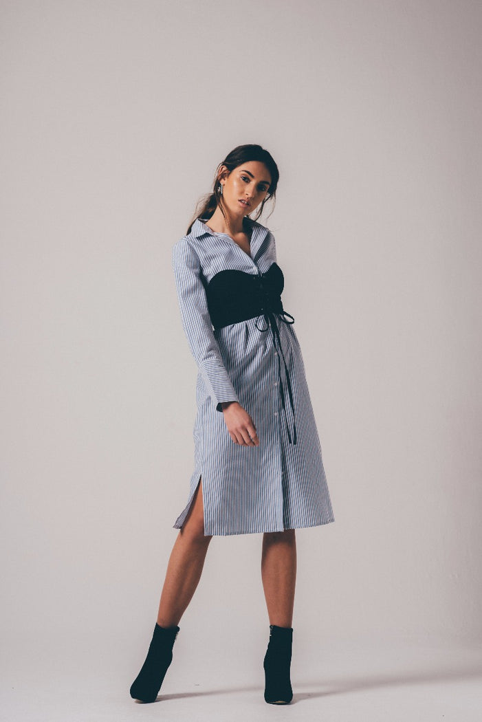 Blue Striped Shirt Midi Dress With Black Detachable Corset