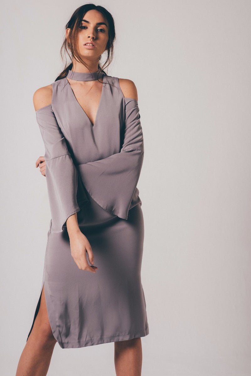 Choker Plunge Neck Midi Dress - Grey Marl