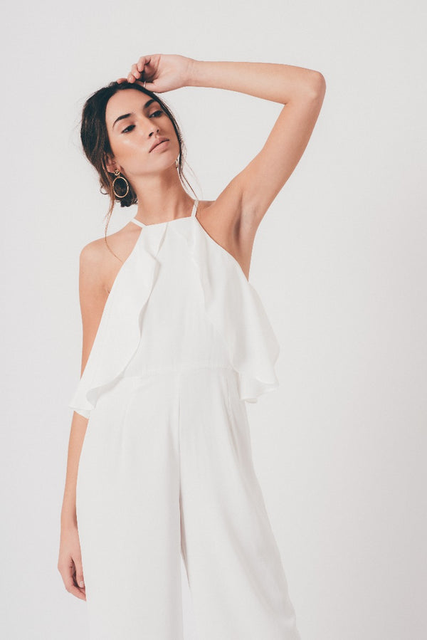 White Double Layer Frill Jumpsuit