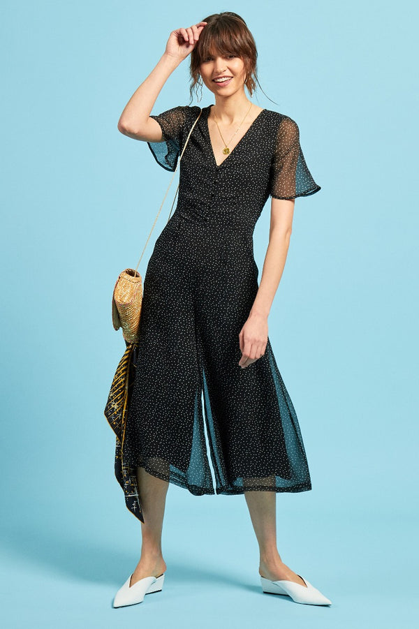 Black Ditsy Spot Tea Jumpsuit - Black