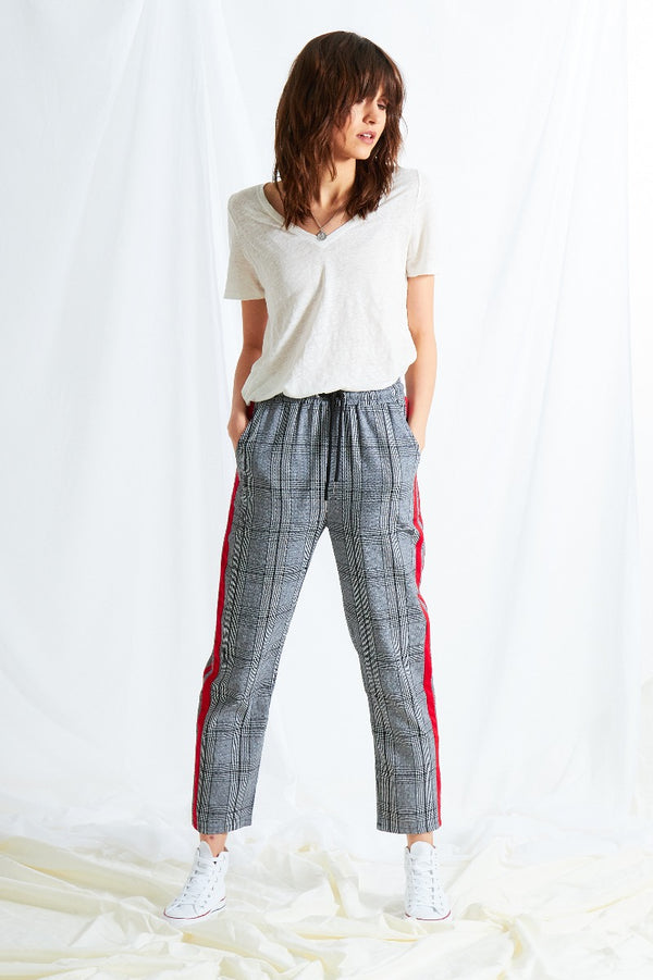 Sport Stripe Cigarette Pants - Grey