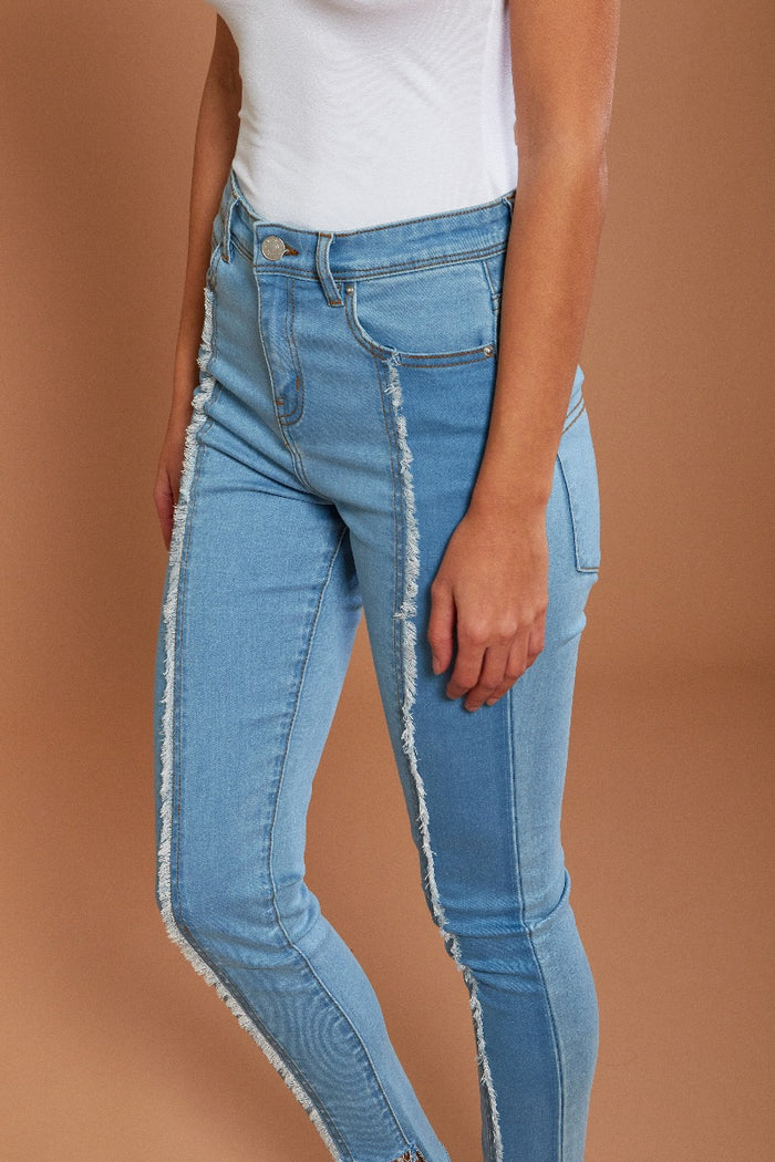 Raw Seam Two   Tone Jeans