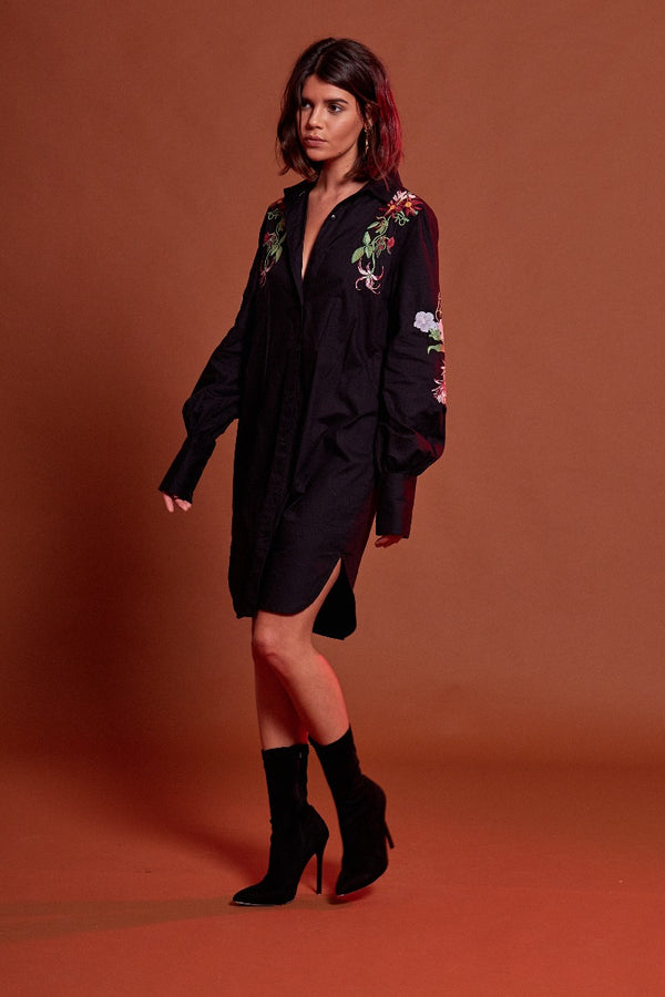 Floral Embroidered Shirtdress - Black