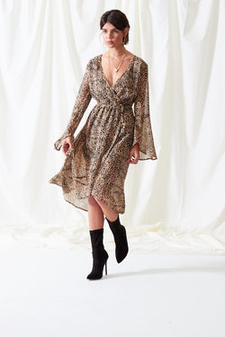 Louisa Leopard Wrap Dress - Brown