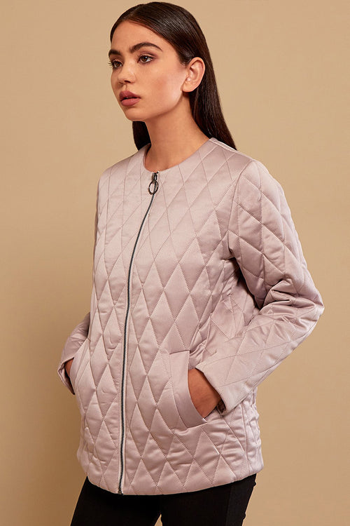 Dusty Pink Quilted Bomber Jacket