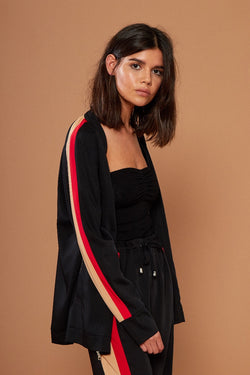 Sports Luxe Stripe Jacket - Black