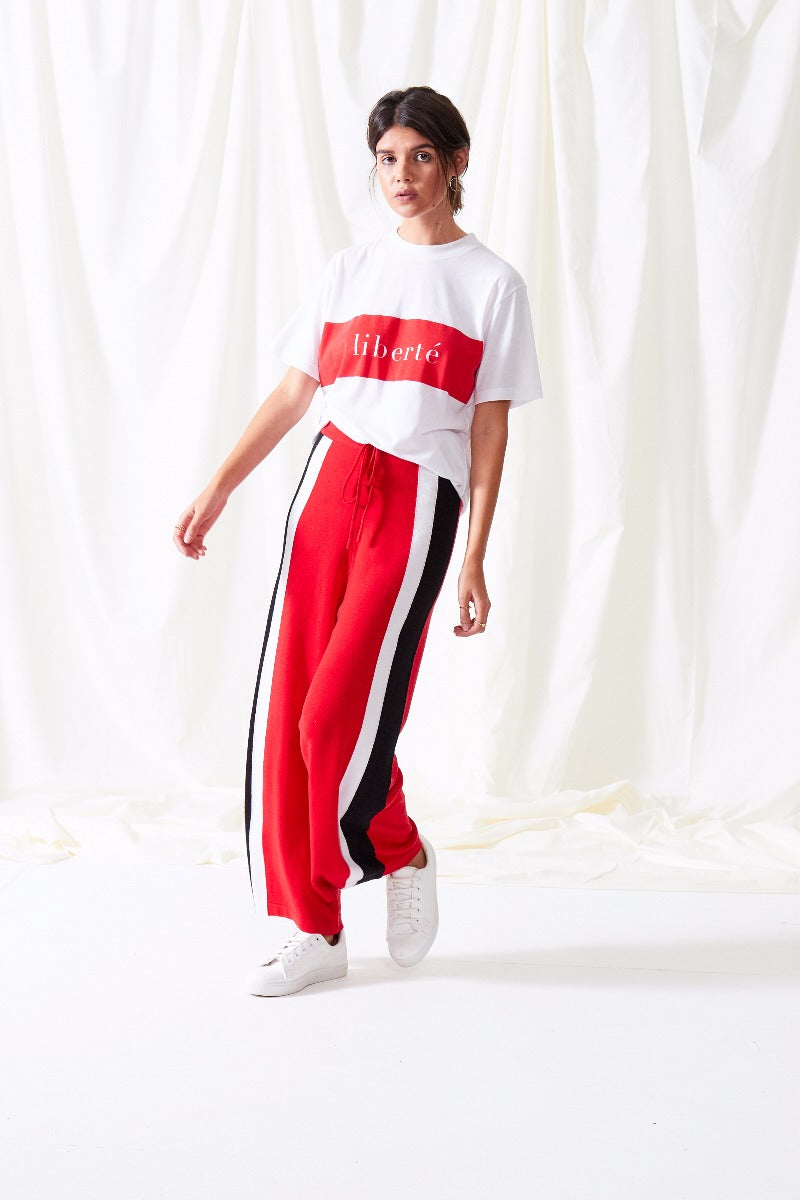Stripe Knit Track Pants - Red