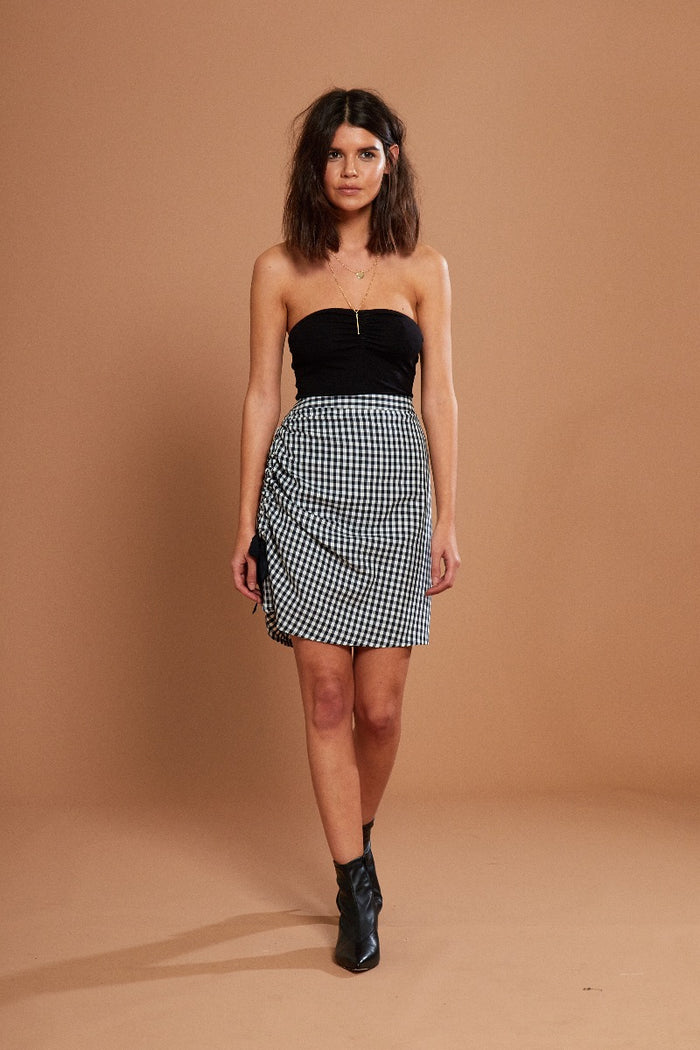 Ruched Gingham Mini Skirt