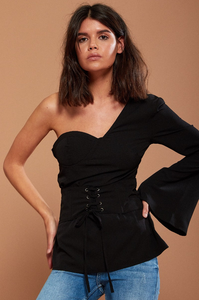 Black One Shoulder Fluted Sleeve Top With Corset Detail