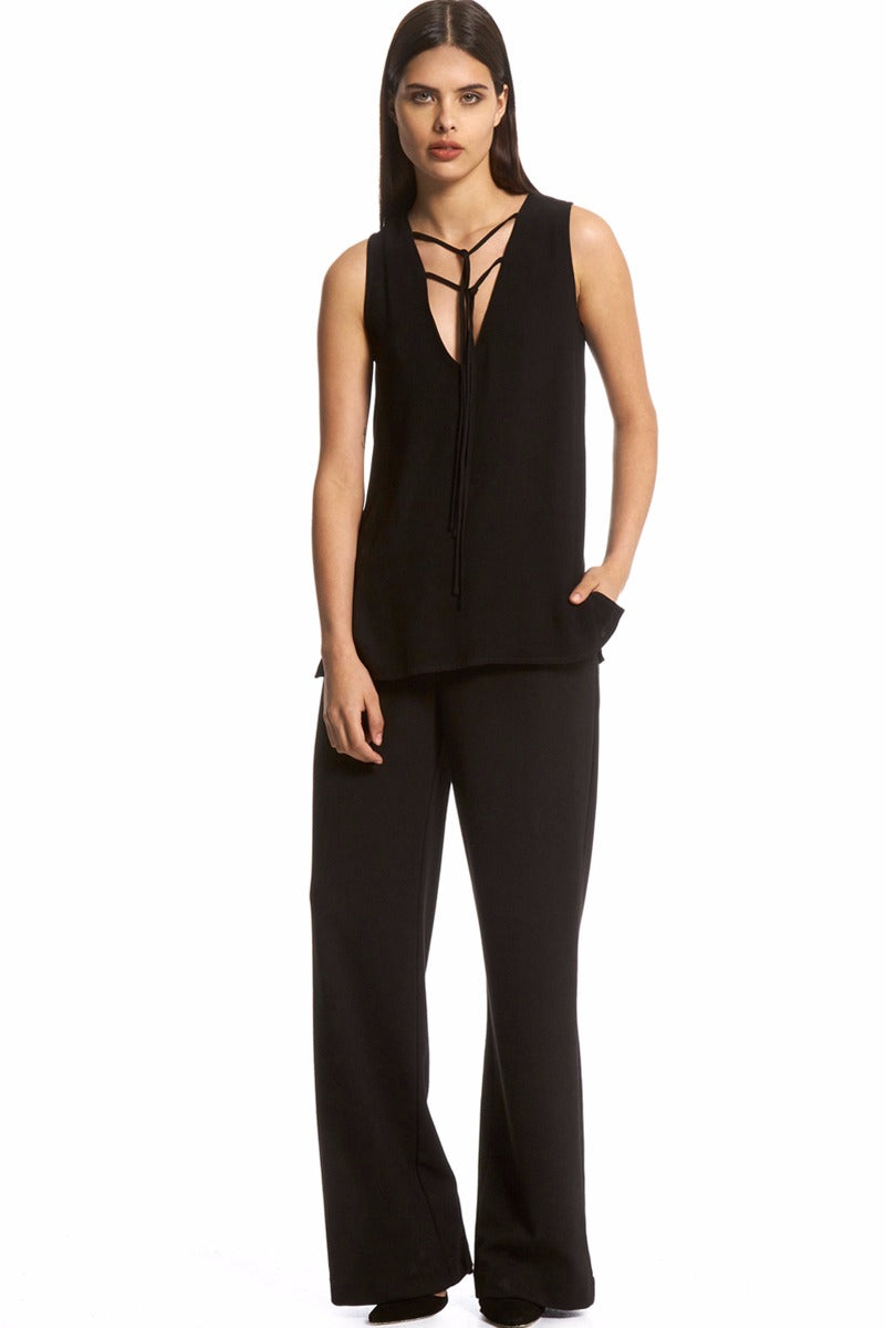 Tie Neck Tunic Top - Black