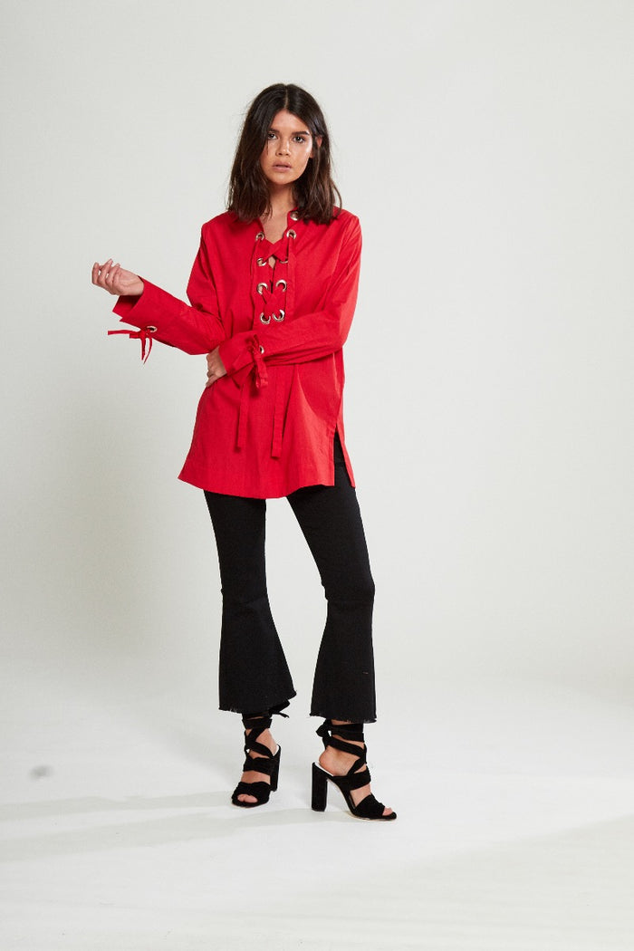 Lace Up Eyelet Shirt