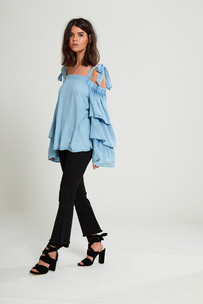 Tiered Sleeve Chambray Blouse