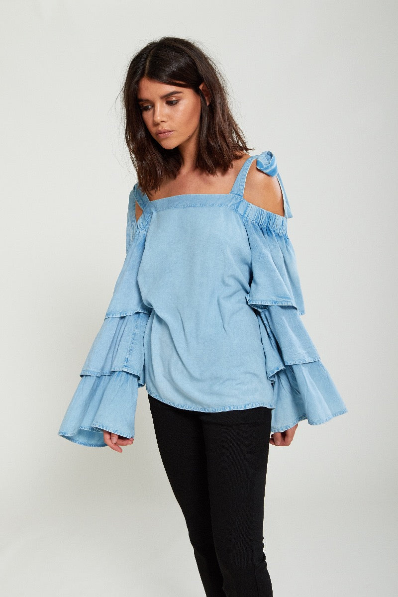 Tiered Sleeve Chambray Blouse - Blue