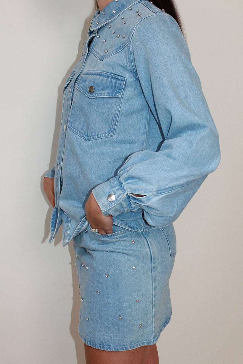 Gem Embellished Balloon Sleeve Denim Shirt <br/> Blue