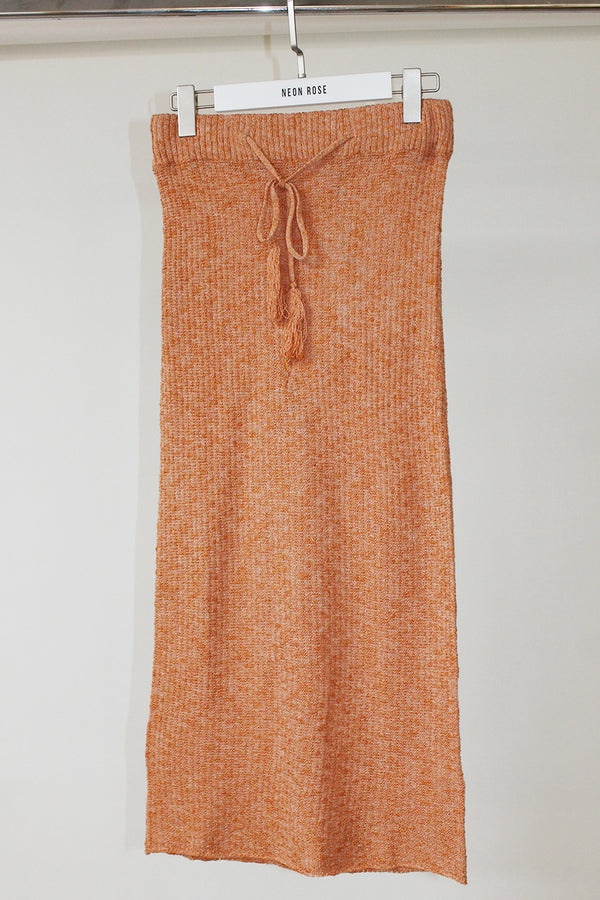 Crop Knit Skirt <br/> Orange
