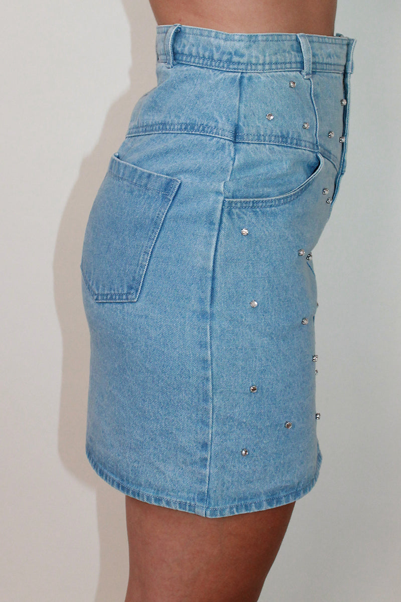 Gem Embellished Denim Mini Skirt <br/> Blue